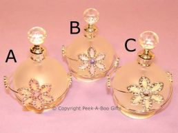 Floral Jewelled Round Perfume Bottle Pastel