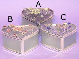 Floral Jewelled Heart Shaped Trinket-Jewel Box Pastel