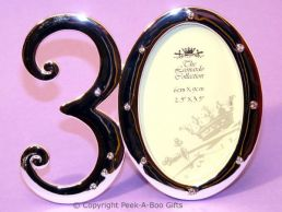 30th Birthday Photo Frame Silver Plated & Diamante Chrystal