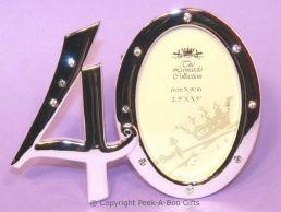 40th Birthday Photo Frame Silver Plated & Diamante Chrystal