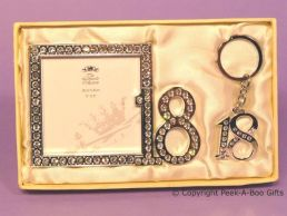 18th Birthday Silver Plated With Diamante Photo Frame & Key Ring