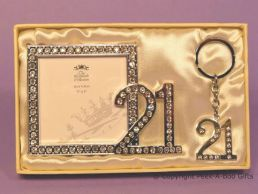 21st Birthday Silver Plated With Diamante Photo Frame & Key Ring