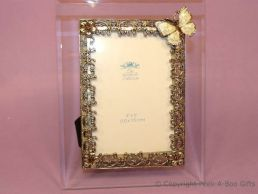 Antique Butterfly Amber Jewelled 4'' x 6'' Bevelled Glass Photo Frame