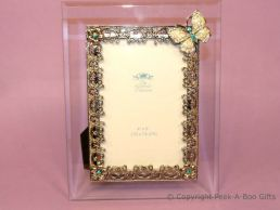 Antique Butterfly Green Jewelled 4'' x 6'' Bevelled Glass Photo Frame