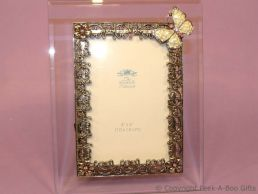 Antique Butterfly Pink Jewelled 4'' x 6'' Bevelled Glass Photo Frame