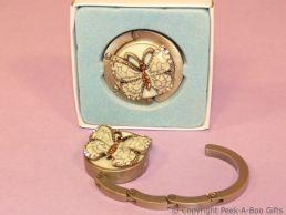 Handbag Hanger Hook Antique Butterfly Enamel & Amber Diamante Jewels