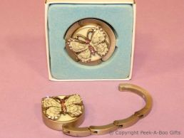 Handbag Hanger Hook Antique Butterfly Enamel & Pink Diamante Jewels