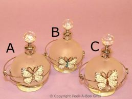 Antique Butterfly Jewelled & Enamel Round Perfume Bottle