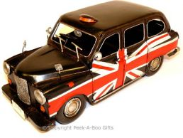 British Union Jack Flag Nostalgic Tin London Taxi Cab Model