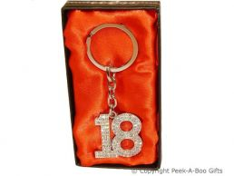 18th Birthday Silver Plated Key Ring With Diamante Crystal Jewels