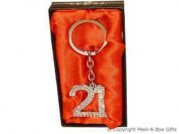 21st Birthday Silver Plated Key Ring With Diamante Crystal Jewels