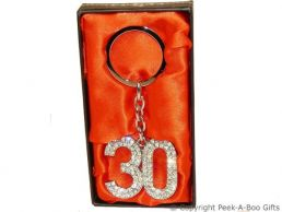30th Birthday Silver Plated Key Ring with Diamante Crystal Jewels