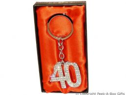 40th Birthday Silver Plated Key Ring with Diamante Crystal Jewels