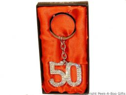 50th Birthday Silver Plated Key Ring With Diamante Crystal Jewels