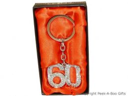 60th Birthday Silver Plated Key Ring With Diamante Crystal Jewels