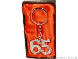 65th Birthday Silver Plated Key Ring with Diamante Crystal Jewels