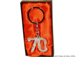 70th Birthday Silver Plated Key Ring With Diamante Crystal Jewels