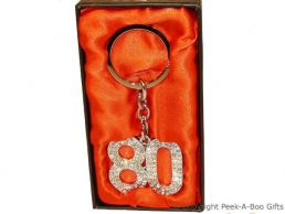 80th Birthday Silver Plated Key Ring with Diamante Crystal Jewels