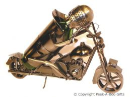 Metal Novelty Motorbike & Rider Shaped Wine Bottle Holder by Leonardo