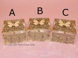 Butterfly Jewelled Square Shaped Trinket-Jewel Box Pastel