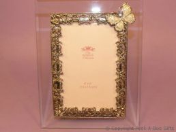 Pastel Ivory Butterfly Glass & Metal Photo Frame Enamel & Jewelled