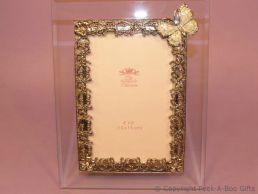Pastel Ivory Butterfly Glass & Metal Photo Frame Enamel & Jewelled