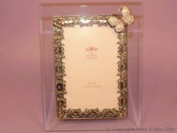 Pastel Lilac Butterfly Glass & Metal Photo Frame Enamel & Jewelled