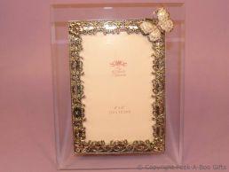 Pastel Lilac Butterfly Glass & Metal Photo Frame Enamel & Jewelled