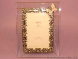 Pastel Pink Butterfly Glass & Metal Photo Frame Enamel & Jewelled