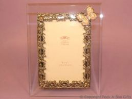 Pastel Pink Butterfly Glass & Metal Photo Frame Enamel & Jewelled