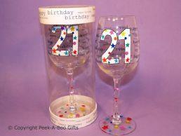Hundreds & Thousands 21st Birthday Wine Glass by Leonardo