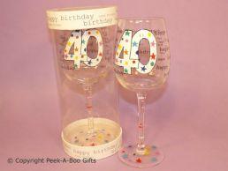 Hundreds & Thousands 40th Birthday Wine Glass by Leonardo