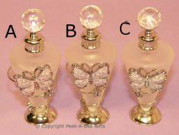 Leonardo Pastel Butterfly Jewelled & Enamel Tall Glass Perfume Bottle