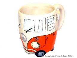 3D VW Camper Van Shaped Decorative Mug in Orange by Leonardo