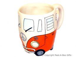 3D VW Camper Van Shaped Decorative Mug in Orange by Leonardo