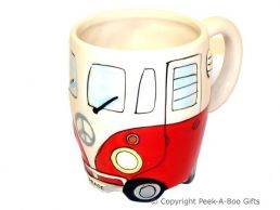 3D VW Camper Van Shaped Decorative Mug in Red by Leonardo