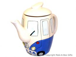 3D VW Camper Van Shaped Decorative Teapot in Blue by Leonardo