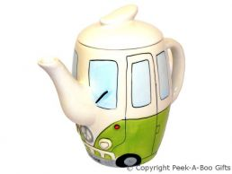 3D VW Camper Van Shaped Decorative Teapot in Green by Leonardo