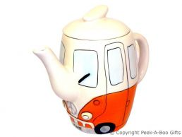 3D VW Camper Van Shaped Decorative Teapot in Orange by Leonardo