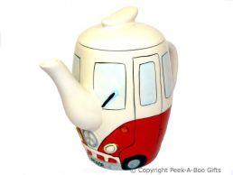3D VW Camper Van Shaped Decorative Teapot in Red by Leonardo