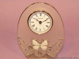 Pastel Butterfly Ivory Jewelled & Enamel Oval Clock Glass & Metal