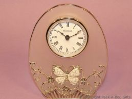 Pastel Butterfly Ivory Jewelled & Enamel Oval Clock Glass & Metal