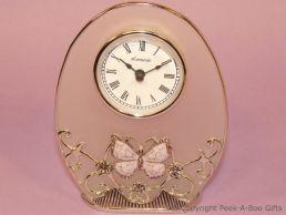 Pastel Butterfly Lilac Jewelled & Enamel Oval Clock Glass & Metal
