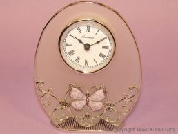 Pastel Butterfly Lilac Jewelled & Enamel Oval Clock Glass & Metal