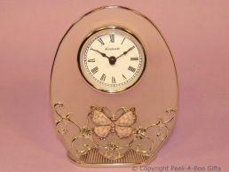 Pastel Butterfly Pink Jewelled & Enamel Oval Clock Glass & Metal