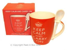 Keep Calm & Carry On Mug & Spoon Fine Bone China by Leonardo