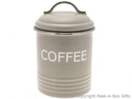 Home Sweet Home Pale Olive Sage Green Collection Tin Coffee Canister