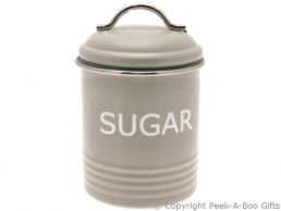 Home Sweet Home Pale Olive Sage Green Collection Tin Sugar Canister
