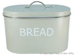 Home Sweet Home Pale Olive Sage Green Tin Collection Bread Bin