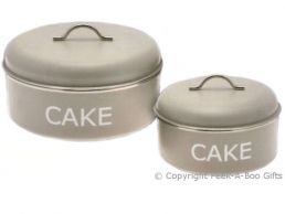 Home Sweet Home Pale Olive Sage Green Tin Collection Twin Cake Tins